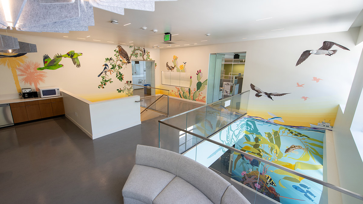 A photo of a building interior showing walls painted with a colorful mural of birds, plants, and fish